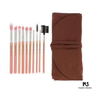 Pink Bambu Eyes Only 10pc. Brush Set with Roll-up Pouch
