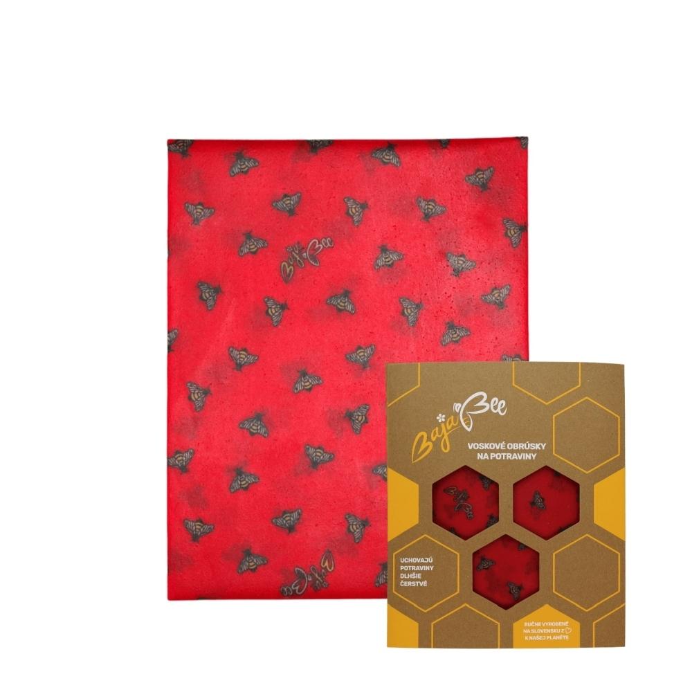 """Voskový obrúsok """"BajaBee"""" - XL, červené včielky, 1 ks"""
