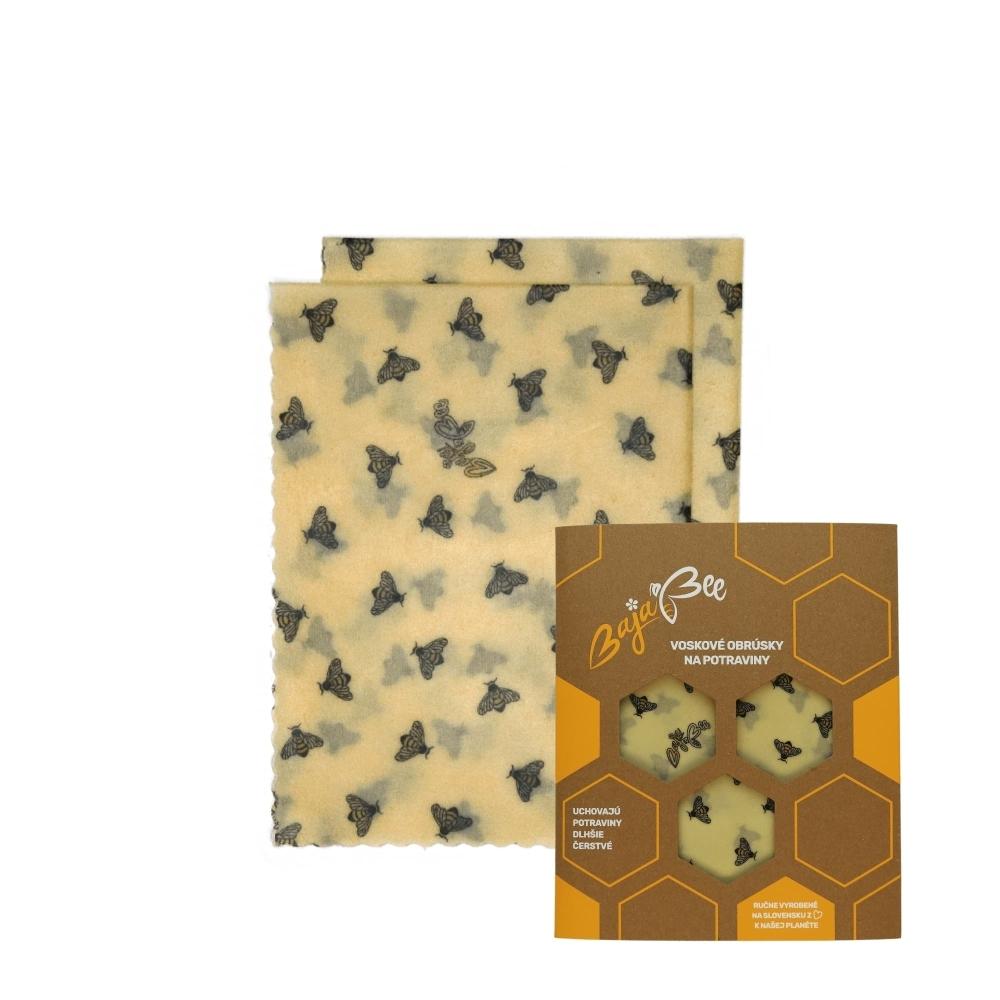 "Voskové obrúsky ""BajaBee"" - 2 x M, žlté včielky, 2 ks"