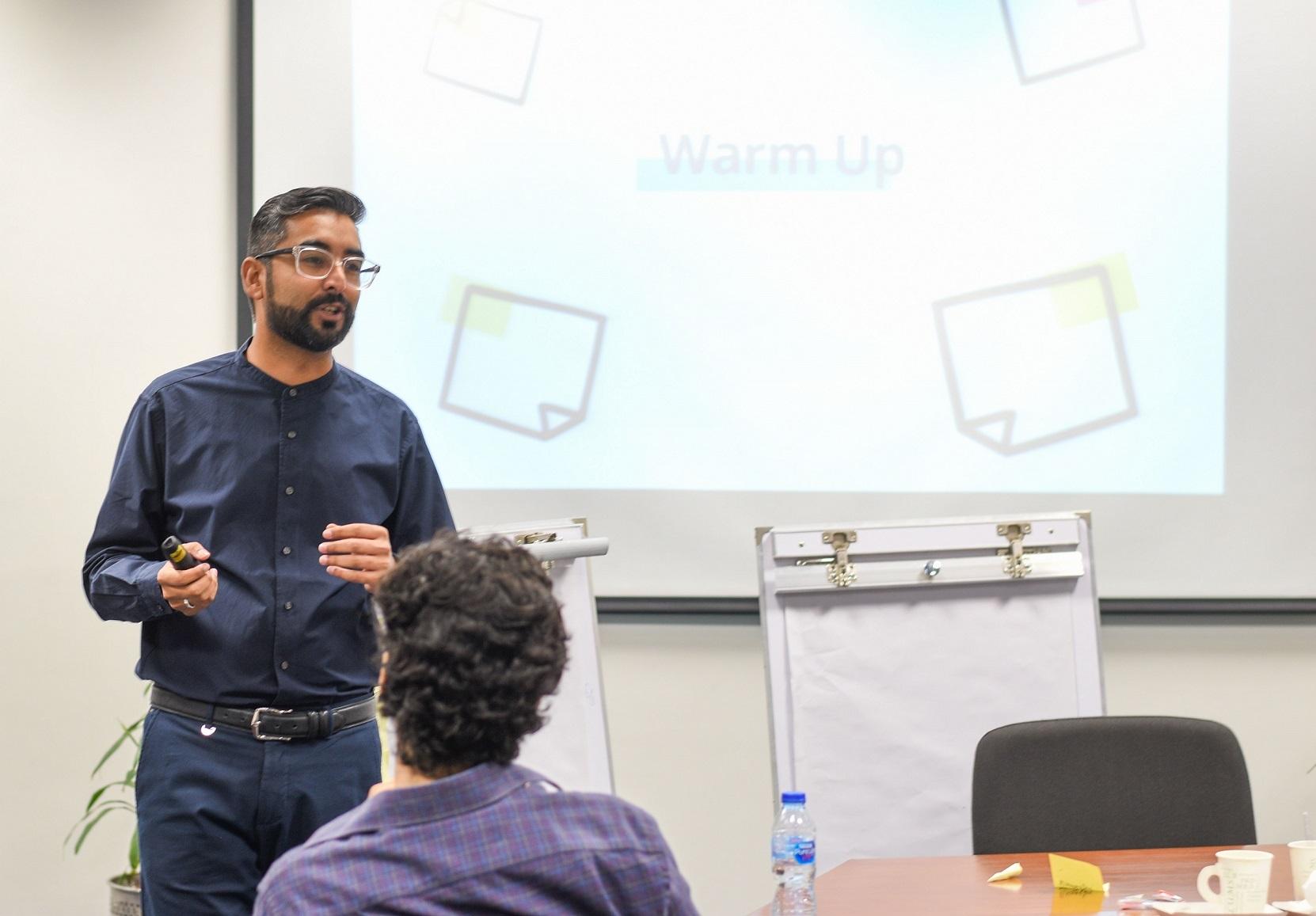 Hasan Habib during his workshop on Service Design at UX Pakistan