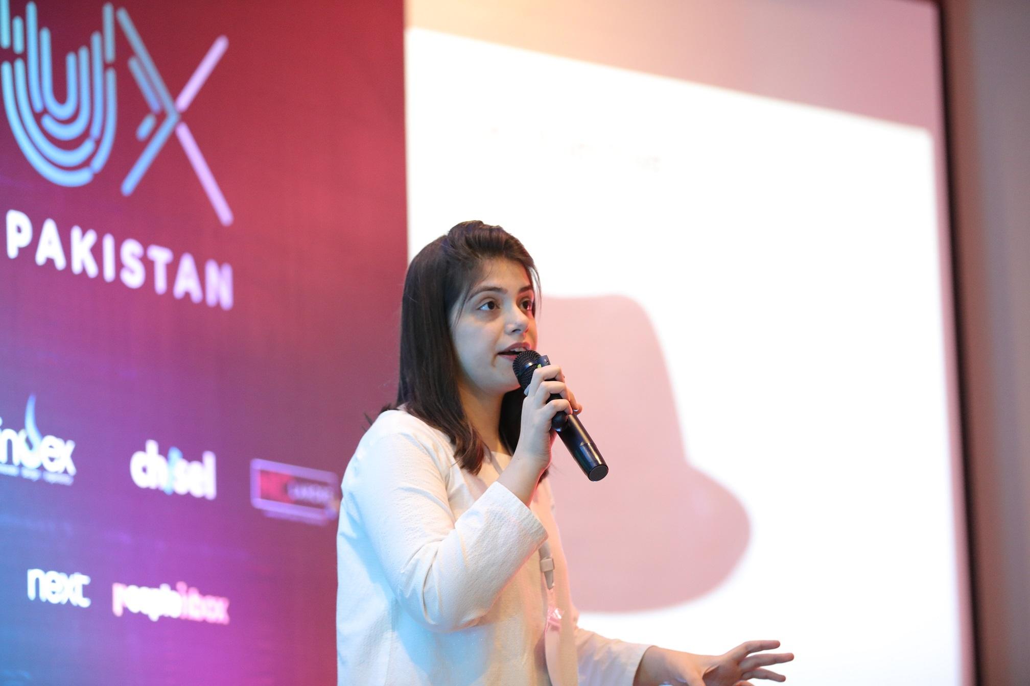 Asma Omer discussing the success of Marham.pk at UX Pakistan