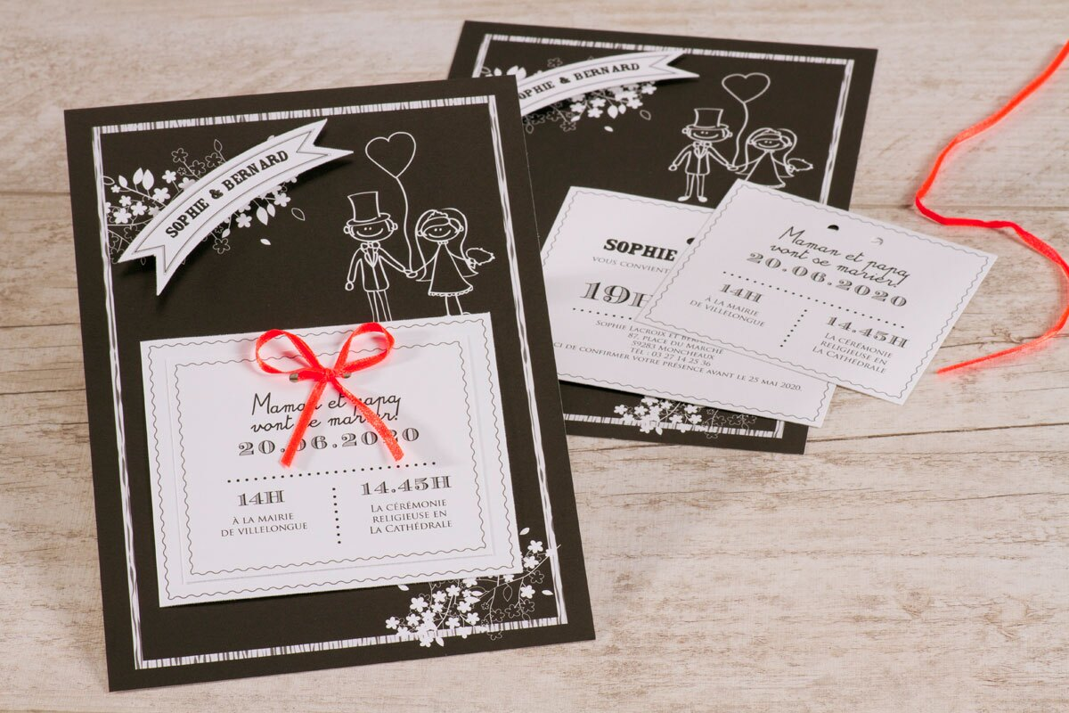 faire-part-mariage-noir-et-blanc-ruban-orange-buromac-106028-TA106-028-09-1