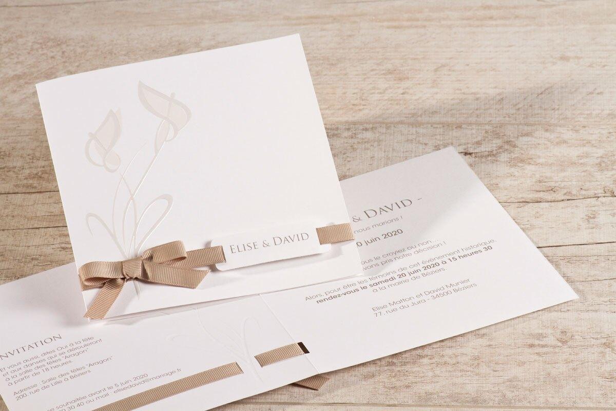 faire-part-mariage-arum-et-ruban-taupe-buromac-106049-TA106-049-09-1