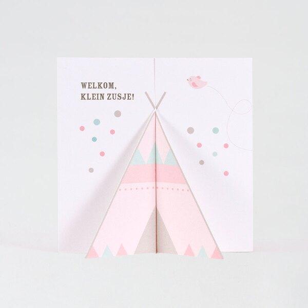 vierkant-geboortekaartje-tipi-tent-roze-buromac-507131-TA507-131-15-1